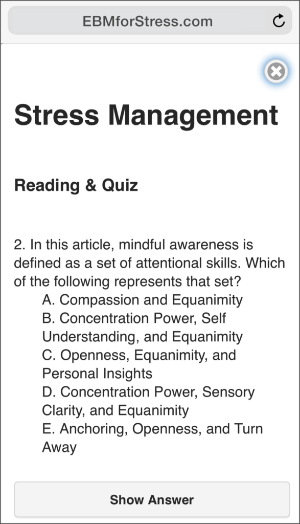 EBM Stress Quiz Answer